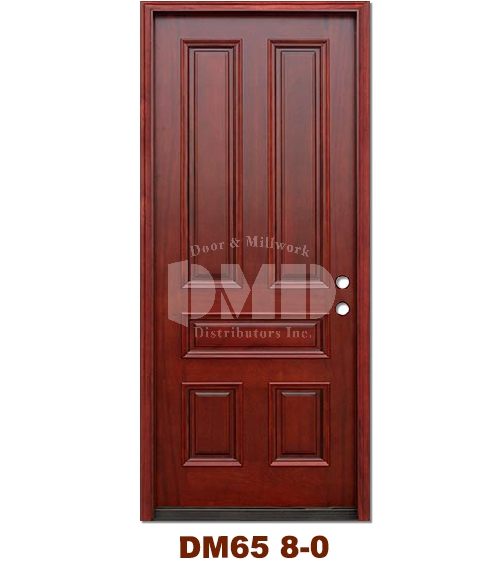 DM65 5 Panel Contemporary Exterior Wood Mahogany Door 8-0