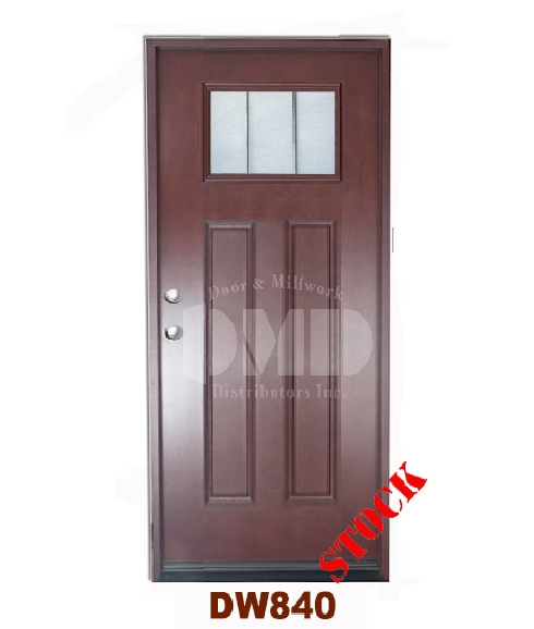 Dw840 dark walnut exterior fiberglass door dmd chicago for Cheap front door and frame