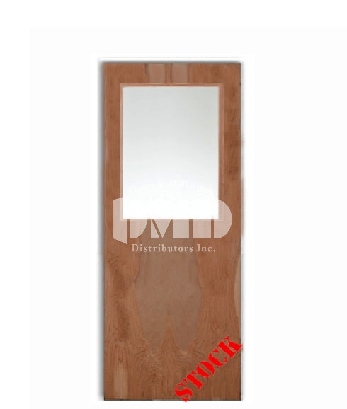Flush birch solid core commercial door with half glass for Solid core flush interior doors