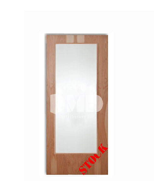 Flush birch solid core commercial door with full glass for Solid core flush interior doors